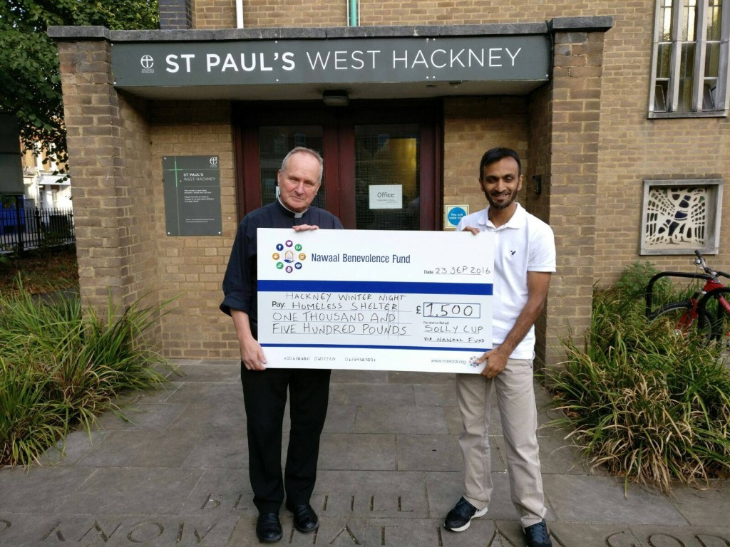 A local community sports tournament organised by Chartsworth Rd Residents raised £1.5k for the Hackney Shelter at St Paul's Church - Rev Niall Weir accepted the cheque in September 2016