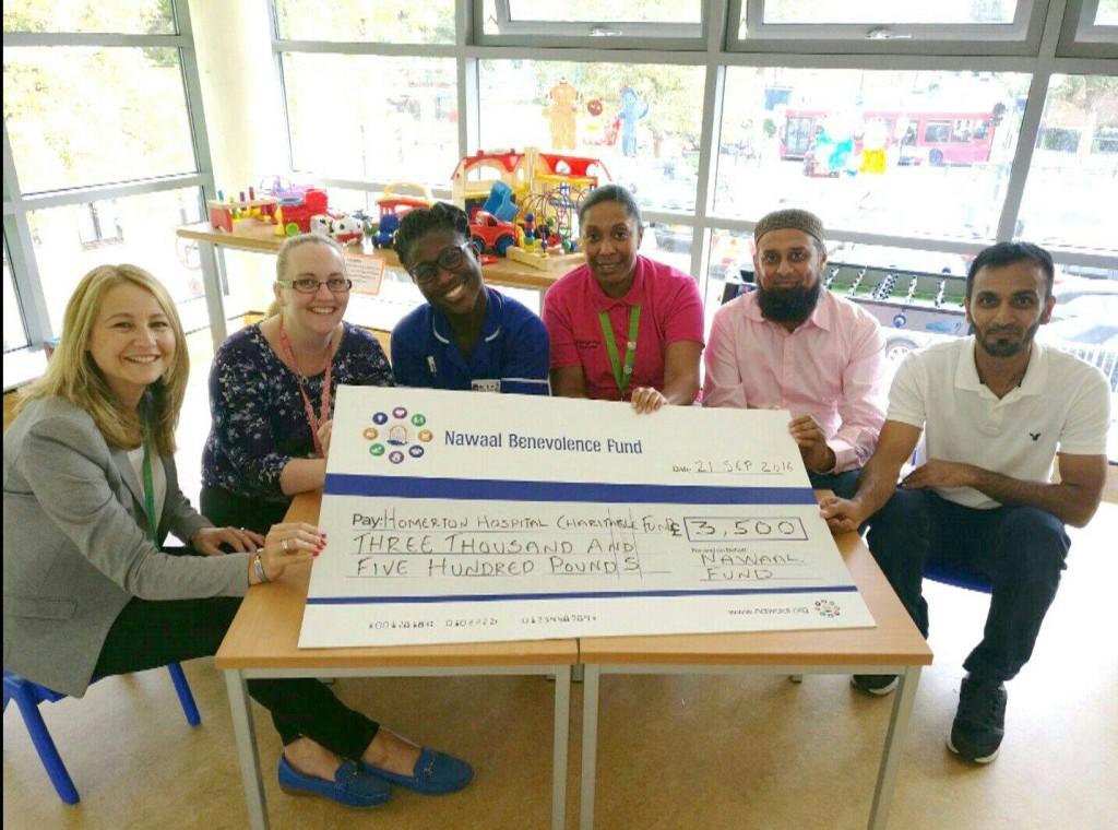 The local Muslim community raised £3.5k during Ramdhan 2016 for Homerton Hospital's children's ward in September 2016