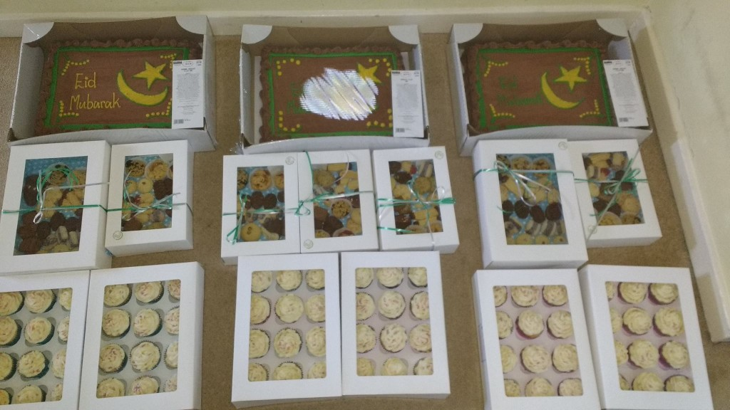 Special Eid cakes and biscuits donated to Hackney Migrant Centre, British Red Cross Destitute Centre and Spitalfield Crypt Trust for Homeless in  June 2016